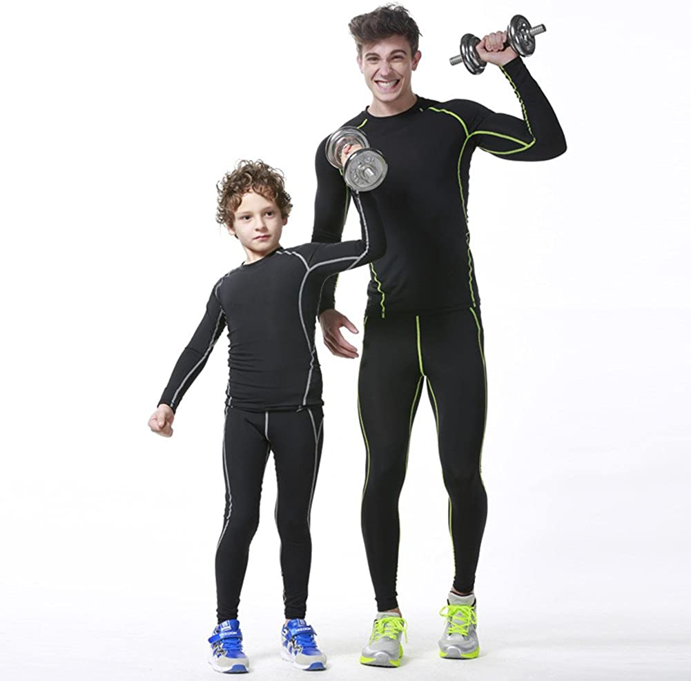 QD-WST Boys /& Girls Sports Base Layer Compression Set Long Sleeve T-Shirt Pants 2 PCS Cool Dry