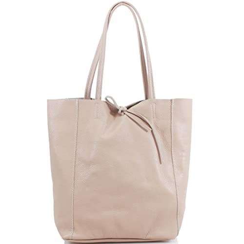 97176fb64170 Ladies Soft Italian Real Leather Shopper Tote Bag Women Girls Shoulder Bag  (Apricot)
