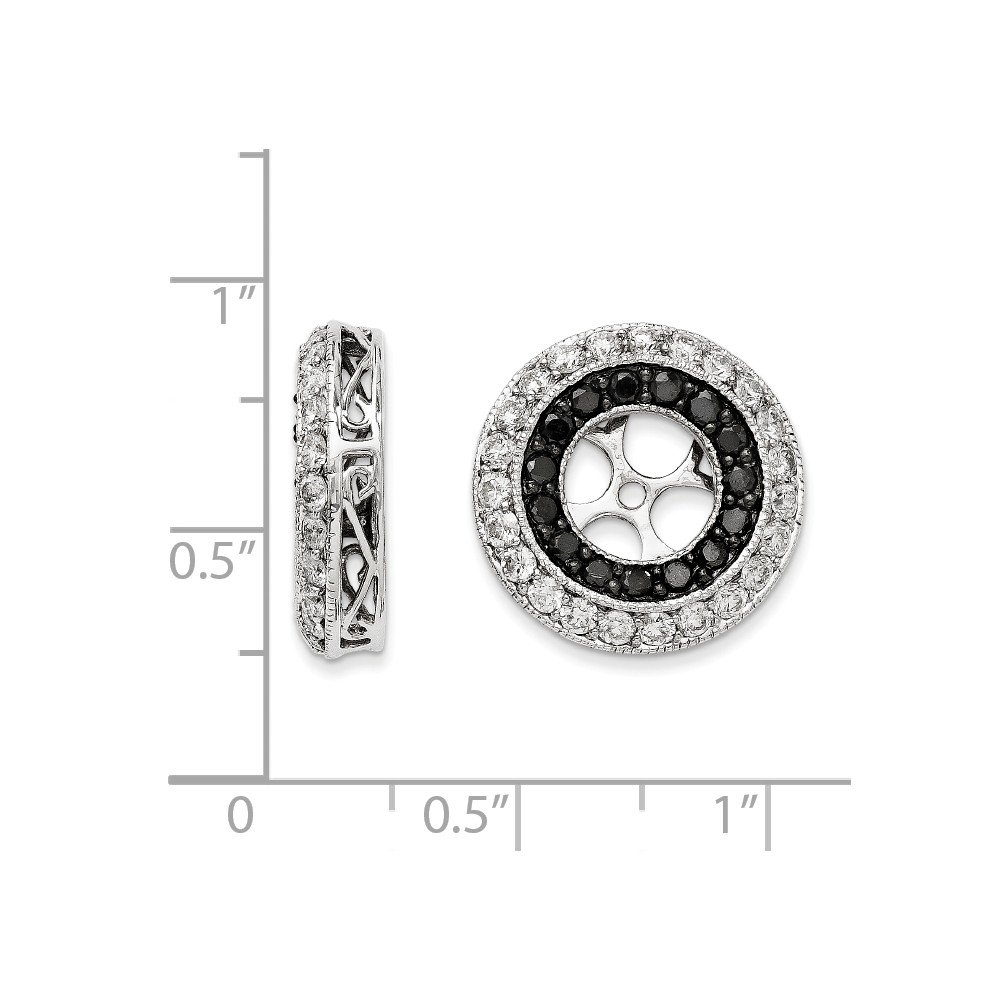 14k White Gold Black /& White Diamond Earring Jackets