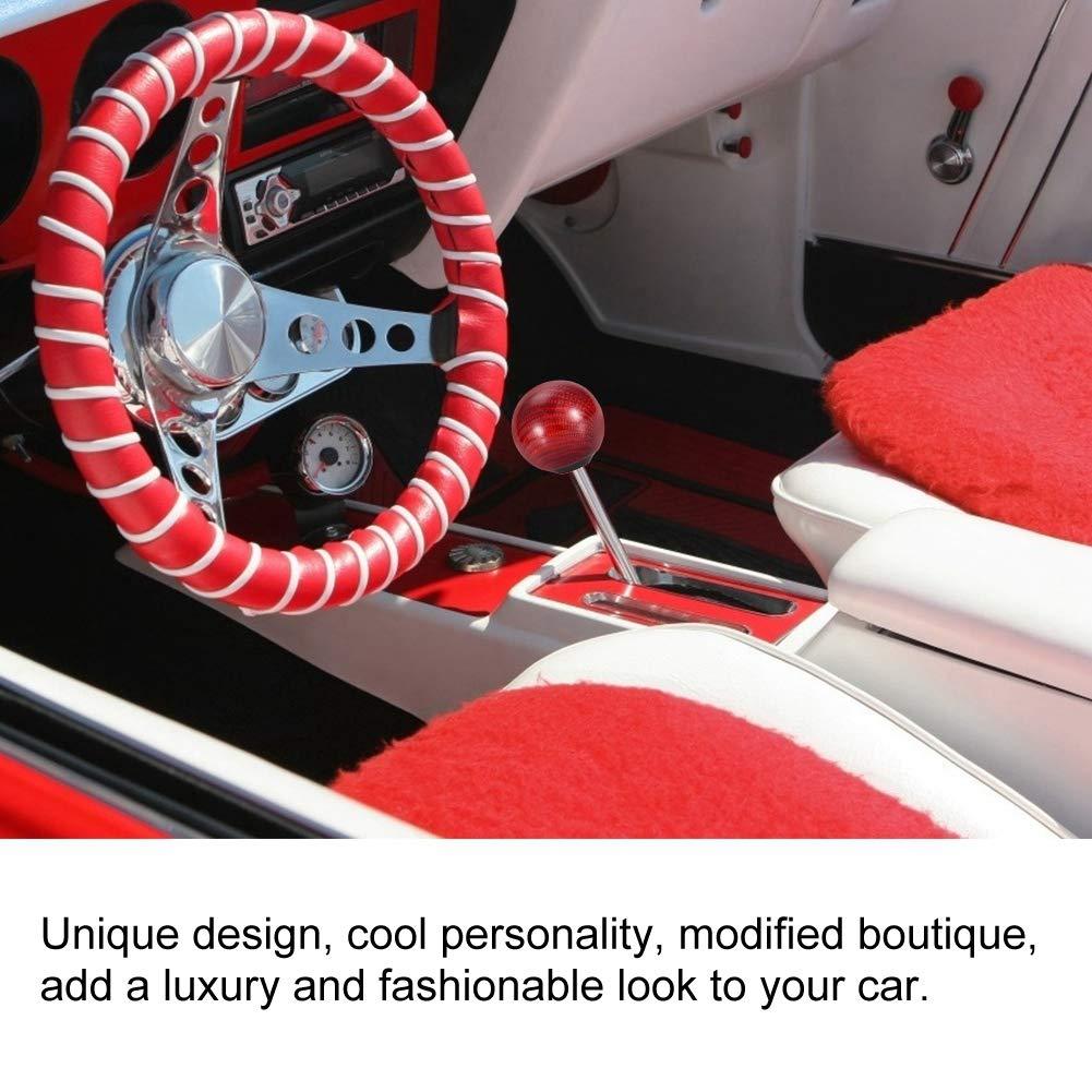 Red Fibra de Carbono Universal Car Gear Shift Knob Head Palanca de Cambio Bola Redonda