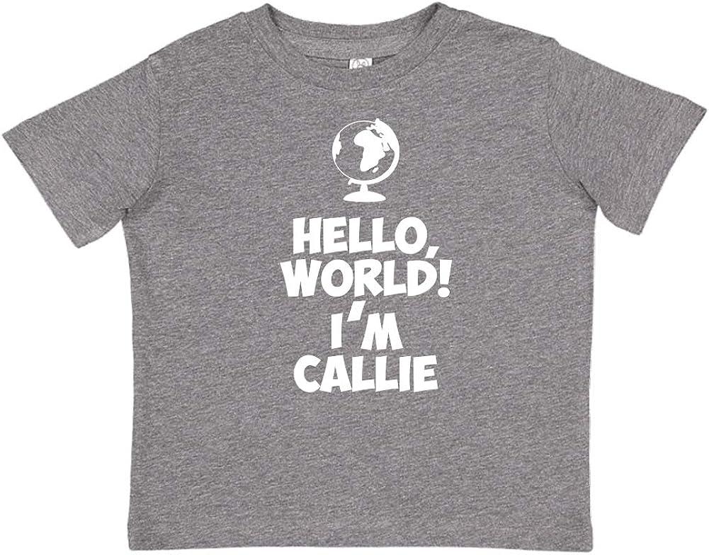Im Callie Mashed Clothing Hello World Personalized Name Toddler//Kids Short Sleeve T-Shirt