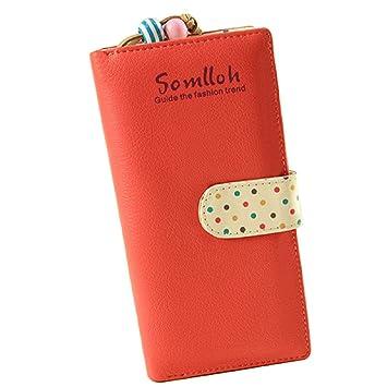 Malloom® nuevo moda dama mujeres chica largo monedero Monedero del embrague billetera Bolsa Zip Titular de la tarjeta (rojo(red))
