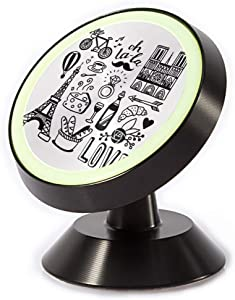 Tinmun Magnetic Phone Car Mount, Paris Doodles French Wine Architecture Universal Car Phone Holder for Dashboard