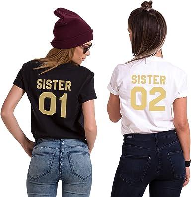 Mejores Amigas Camiseta Best Friend T-Shirt 100% Algodón 2 Piezas Dorada Impresión Sister 01 02 Camisa Manga Corta Hermana para Mujer(Negro+Blanco, 01-S+02-M): Amazon.es: Ropa y accesorios