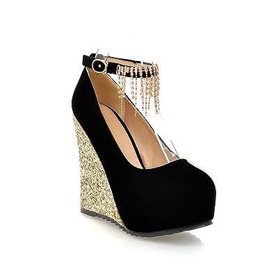 AdeeSu Womens Buckle Wedges Platform Low-Cut Uppers Urethane Pumps Shoes