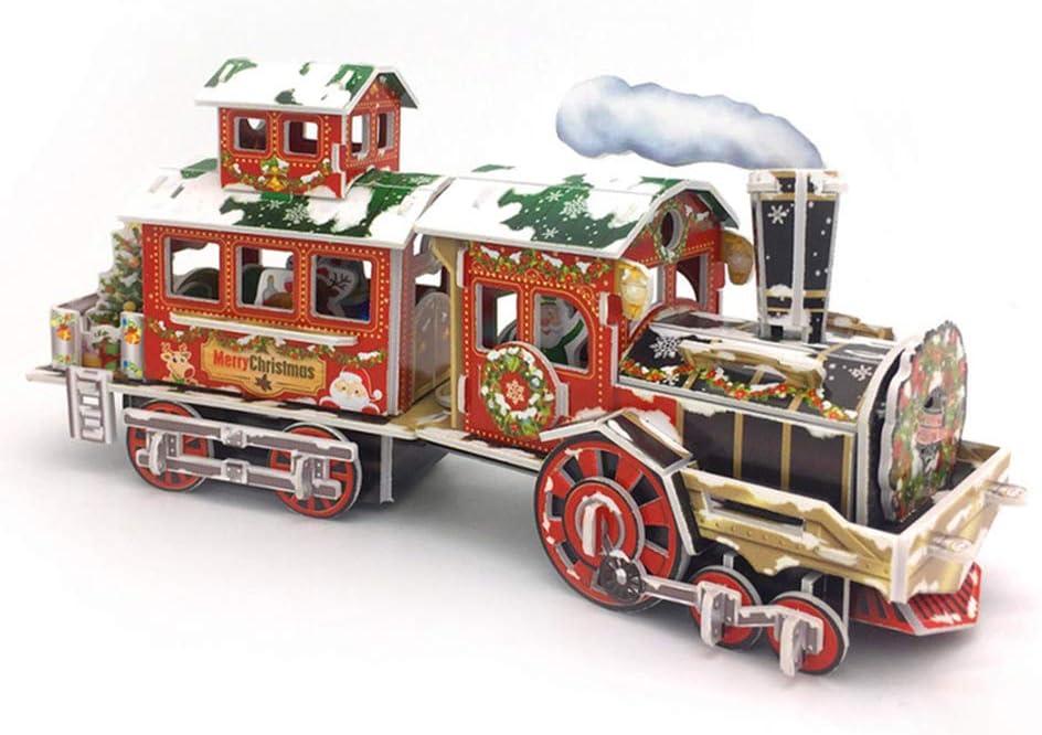 Puzzle 3D, Puzzle de Tren de Navidad 3D con Luces de Colores, Juguete de Puzzle de Tren, Modelo Mecánico de Bricolaje, Kit de Construcción de Edificios, Decoración Navideña, Regalo de Cumpleaños Niños