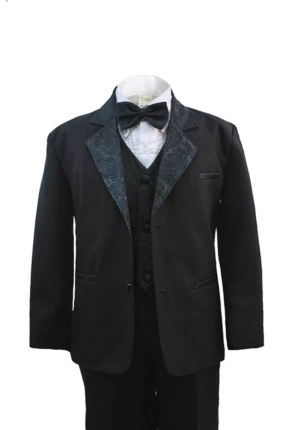 Unotux Boy Black Formal Suit Tuxedo with Paisley Jacquard Lapel S-20