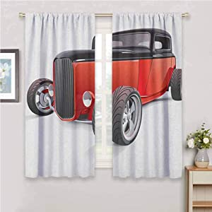 hengshu Cars Eclipse Blackout Curtains Nostalgia Red Hot Rod American Culture Retro Revival Classics Collectors Car Patio Door Curtains Living Room Decor W100 x L62 Inch Red Black White