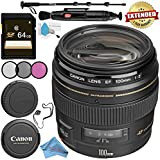 Canon EF 100mm f/2 USM Lens 2518A003 + 58mm 3 Piece Filter Kit + 64GB SDXC Card + Lens Pen Cleaner + Fibercloth + Lens Capkeeper + Deluxe 70 Monopod + Deluxe Cleaning Kit Bundle