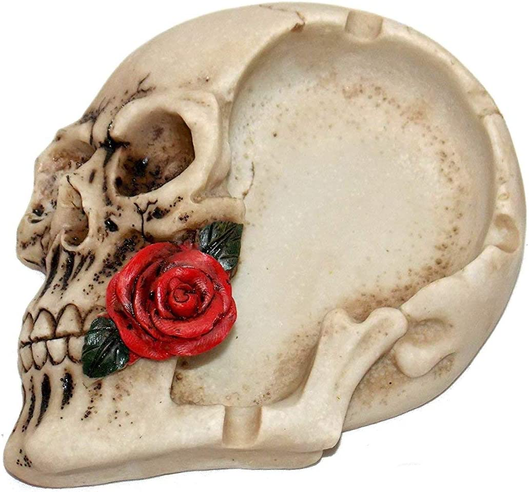 New Grinning Skull Head Holding Red Rose in Teeth Rose Ashtray Jewelry Holder