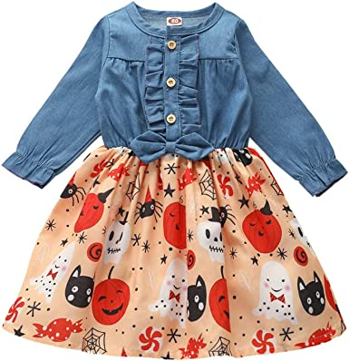 Infant Toddler Baby Girls Christmas Dress Ruffled Button Pumpkin Santa Claus Printed Bowknot Long Sleeve Denim Fall Skirt