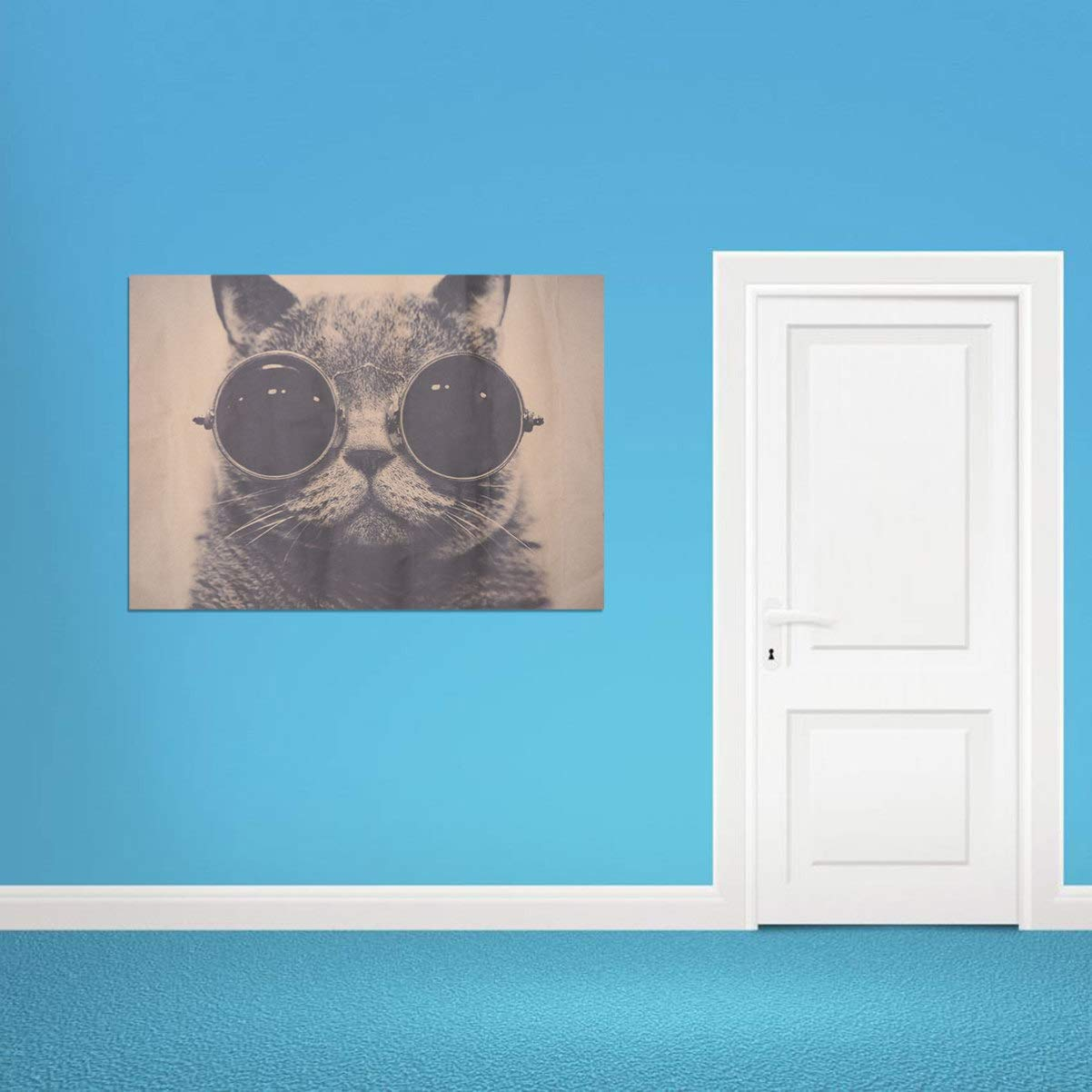 Garneck Kraft Paper Cool Cat Poster Creative Retro Rock Animal Poster Wall Sticker Decorative Painting Wall Poster Decal for Living Room Bedroom Home Decor 51.5 x 36cm