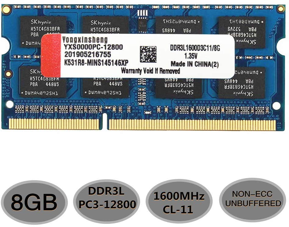 DDR3 DDR3L RAM 8GB Kit SODIMM Laptop Memory (PC3-12800) CL11 1600MHz 204Pin 1.35V Non-ECC Unbuffered Stick Module (Blue)