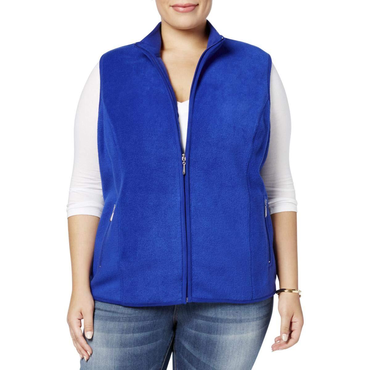 Karen Scott Womens Plus Fall Fleece Casual Vest