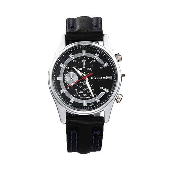 Reloj, poto 2017 nueva moda banda de cuero hombres aleación Dial cuarzo reloj de pulsera Casual: Amazon.es: Relojes