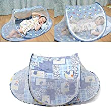 Portable Baby Mosquito Tent Insect Cover Infant Travel Bed (Blue)