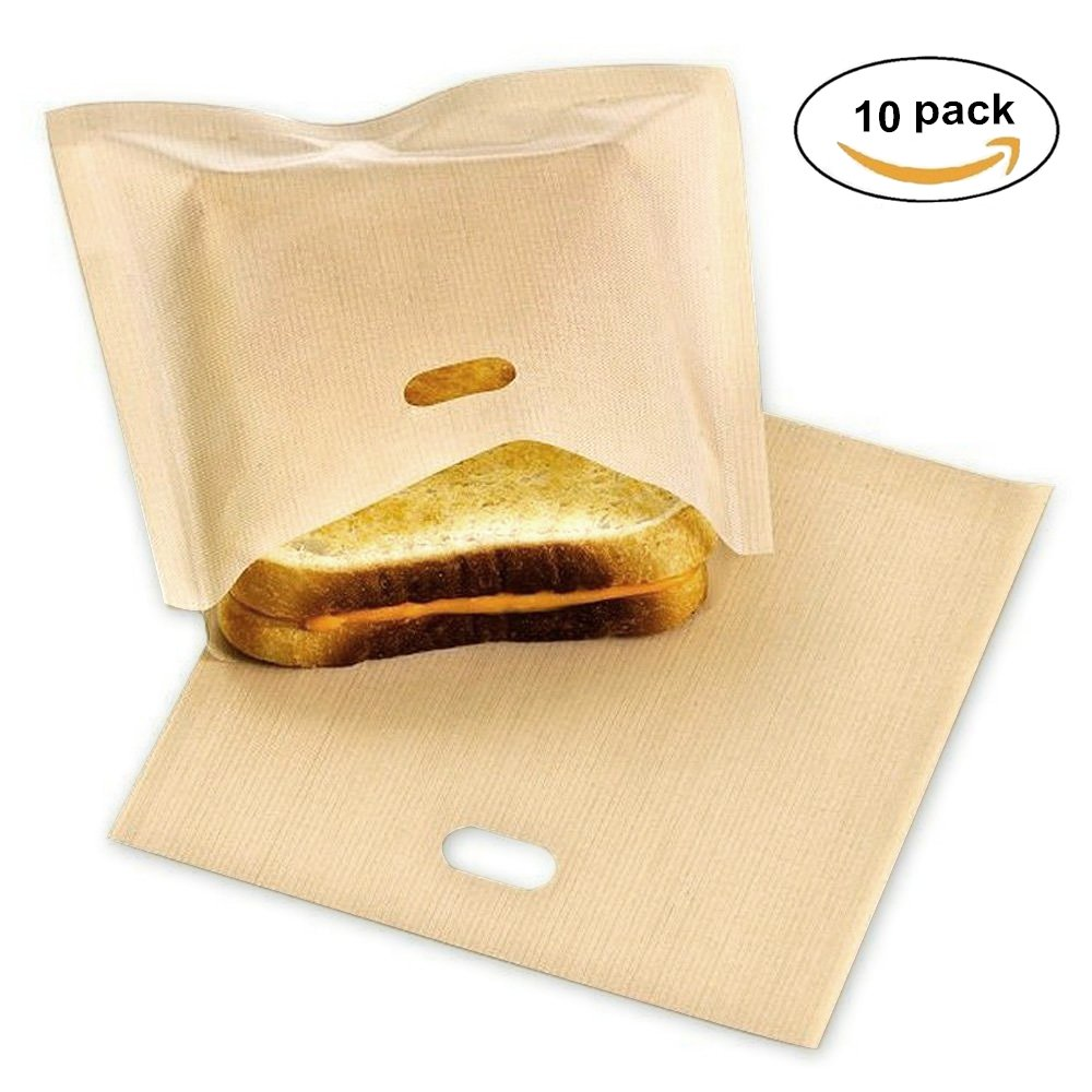 Toaster Bags Reusable, LXMAO Sandwich Snack Toast Bags Non-Stick Toaster Pockets for Grilling, Baking, Toasting, Heating, 6.7x7.5in, Pack of 10 S011
