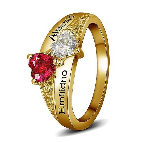 2aa29925009b Godmoy Anillo de Nombre Personalizado con Piedra de Nacimiento 2 Piedras de Corazón  Personalizadas 2 Nombres Plata de Ley 925   Oro Oro Rosa  Amazon.es  ...