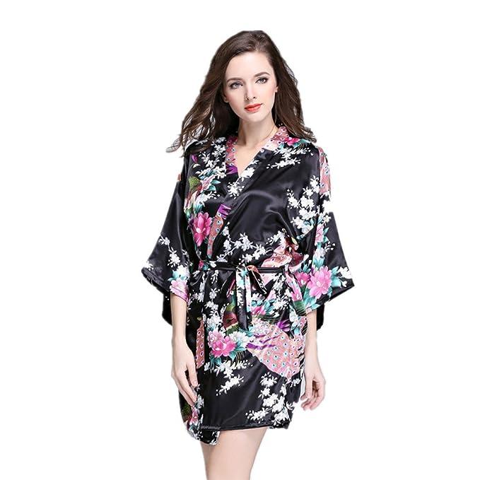 JYSPORT Albornoz Estampado Floral Pijamas Mujer Kimono Lencería Satén Bata Verano Albornoces: Amazon.es: Deportes y aire libre