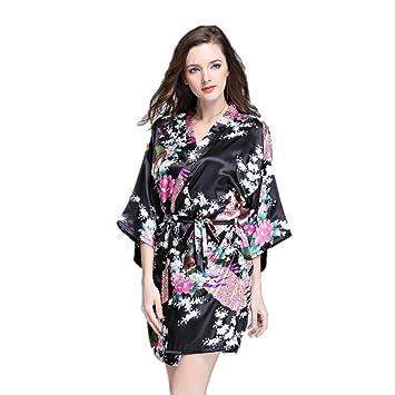 JYSPORT Albornoz Estampado Floral Pijamas Mujer Kimono Lencería Satén Bata Verano Albornoces (black, S
