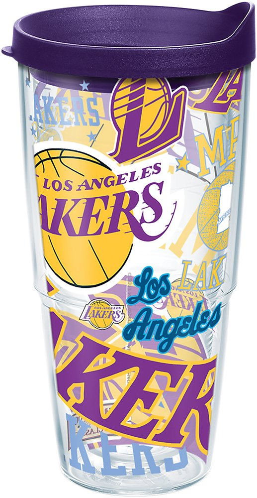 Tervis 1264300 NBA Los Angeles Lakers All Over Tumbler with Wrap and Royal Purple Lid 24oz, Clear