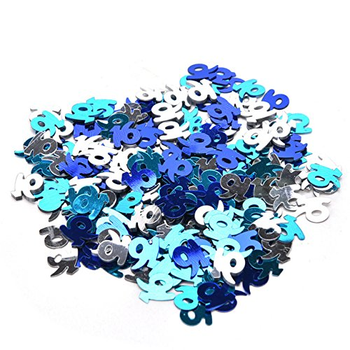 Sweet 16 Party Confetti Sweet 16 Blue Silver Turquoise Confetti Birthday Table Scatter
