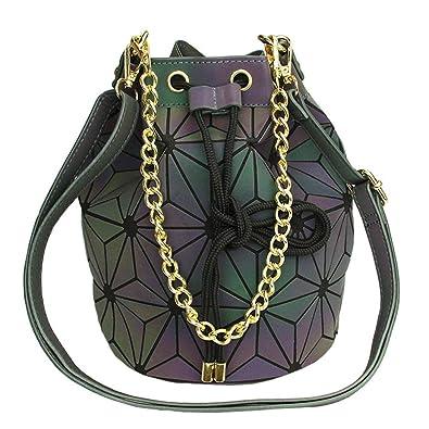 939fa649d44e Amazon.com  Women Geometric Drawstring Bucket Bag Luminous Purses Handbags  Shard Lattice Shoulder Bag PU Leather Crossbody Messenger Bag Holographic  Purse  ...