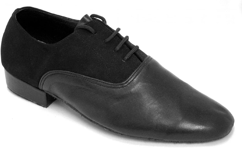 Very Fine Mens Ballroom Dance Shoe in Black Leather and Black Nubuck 919101 7