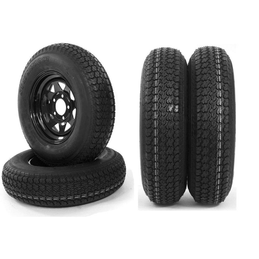 4pc 13'' Black Spoke Trailer Wheel with Bias ST175/80D13 Tire Mounted (5x4.5 bolt circle)