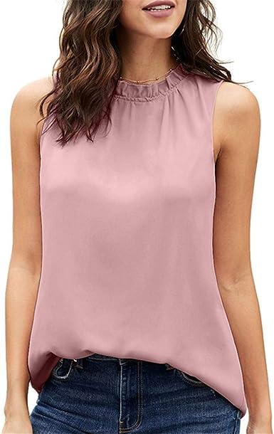 Boutique sale Camisas De Mujer Botones Volantes Blusas Sin Mangas Casuales para Mujeres Blusas De Mujer Nudos De Corbata Camisas Abotonadas Camisetas Sin Mangas Blusas Casuales: Amazon.es: Ropa y accesorios