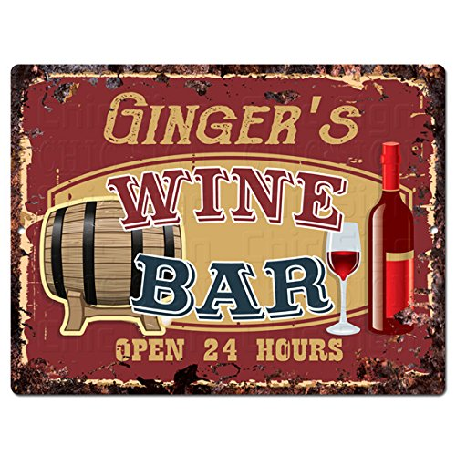 GINGER'S WINE BAR Tin Chic Sign Rustic Vintage style Retr...