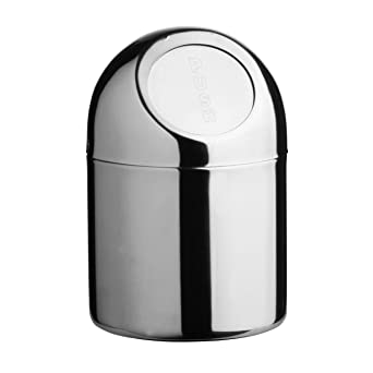 Stainless Steel Mini Desktop Table Top Waste Rubbish Bin Trash Can With  Push Top Lid