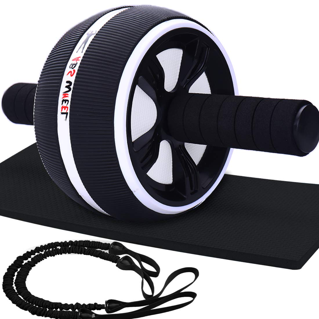 LAFENI Ab Roller, Home Abdominal Exercise Equipment Core Workout Machine Wider Ab Roller Wheel with Resistant Band