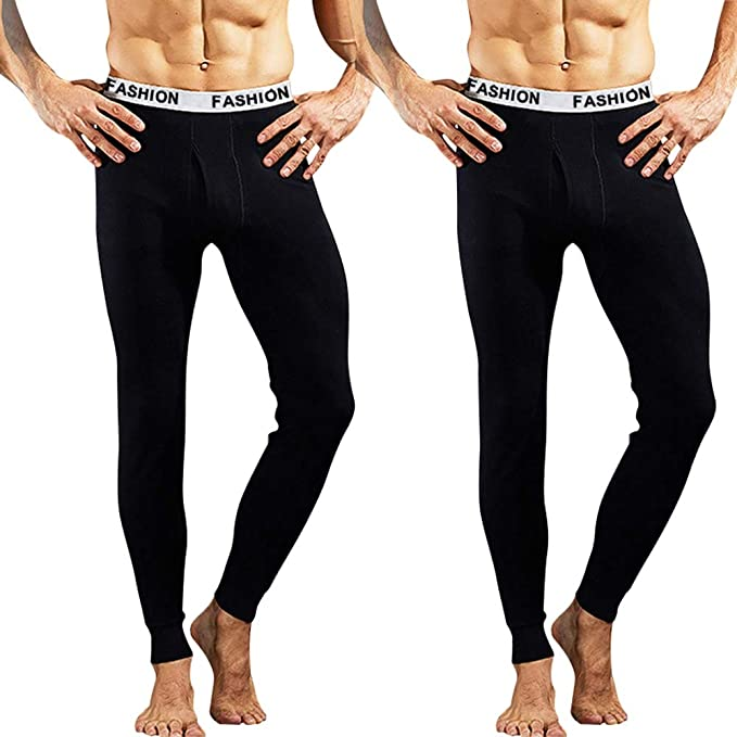37930f632 INIBUD 2 Pack Mens Thermal Underwear Lightweight Wear Long Johns Thermal  Pants Cotton: Amazon.ca: Clothing & Accessories