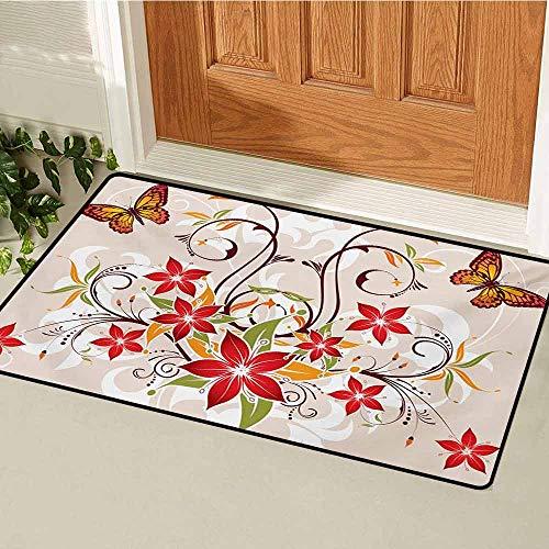 GUUVOR Floral Universal Door mat Butterflies and Flourishing Swirled Blossoms Bouquet Botany Artistic Image Door mat Floor Decoration W47.2 x L60 Inch Beige Green Red
