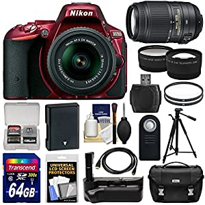 Nikon D5500 Wi-Fi Digital SLR Camera & 18-55mm G VR DX II & 55-300mm VR Lens + 64GB Card + Battery + Grip + Case + Tripod + Tele/Wide Lens Kit