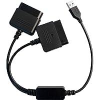 OSTENT PS1 PS2 para PC USB 2.0 conversor adaptador de controlador compatível com Sony PS2 com fio
