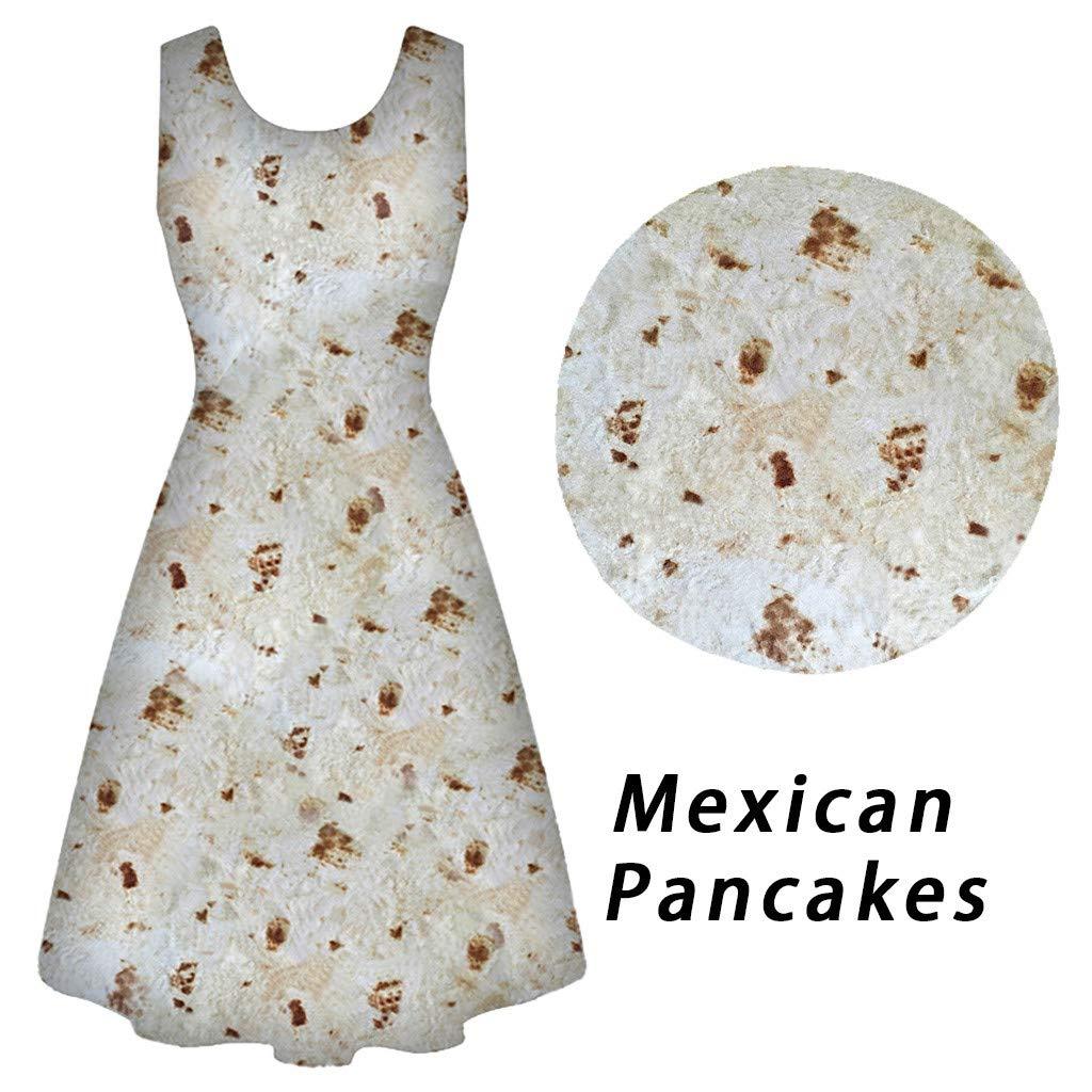 Women Dresses Sleeveless A-line Mexican Pancake Print Slim Fit Mini Swing Dress (XL, Beige)