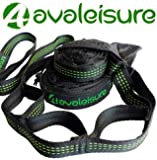 AvaLeisure HAMMOCK STRAPS, 2x10 Feet Long, Extra Strong but Lightweight, No Stretch, Tree Friendly Suspension System with 32 Adjustable Loops for Quick & Easy Setup. Best for Camping, Hiking & Garden