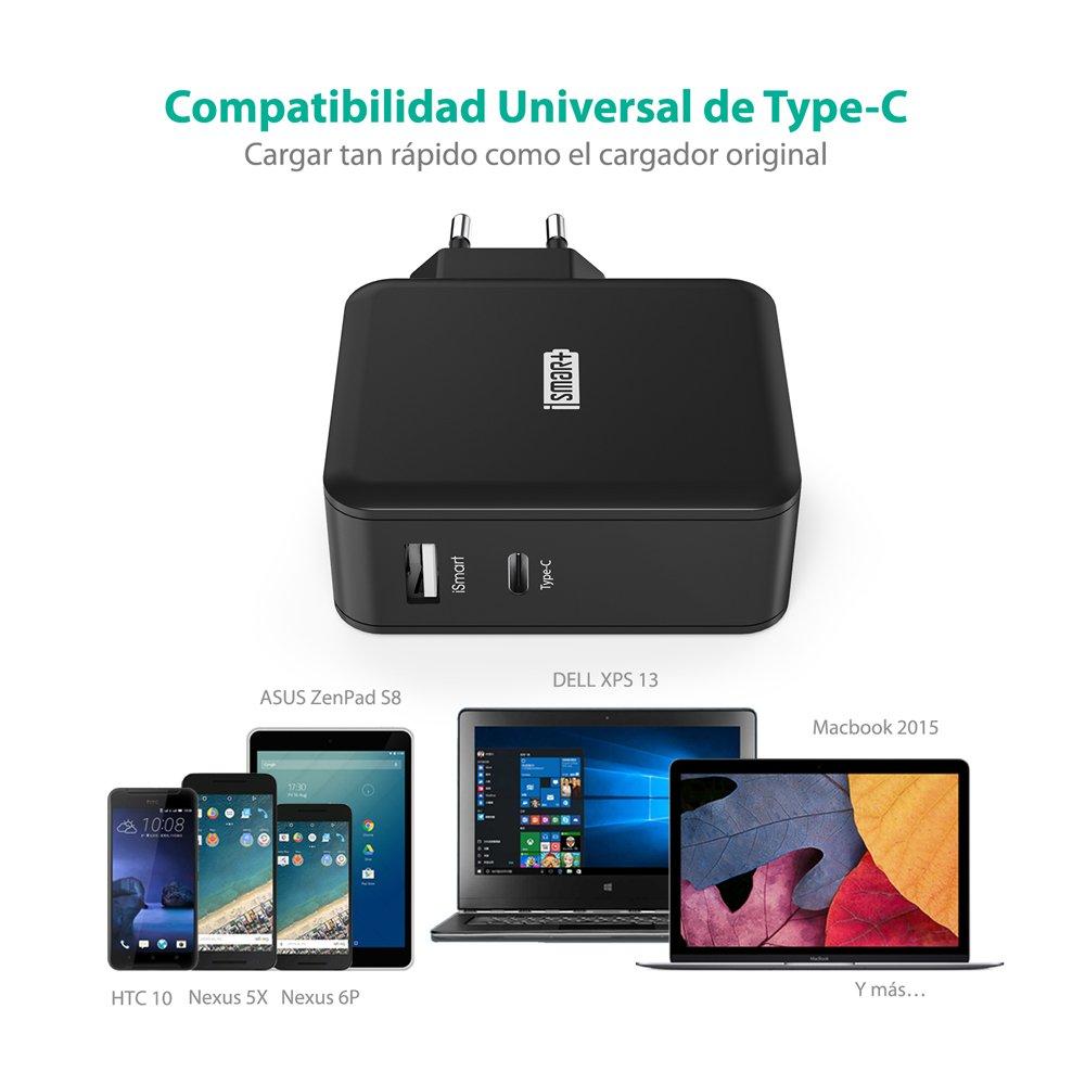 Cargador Tipo C y USB 36W RAVPower Cargador USB C, Cargador Type C y USB para Huawei P9/Nexus/Matebook, LG G5, HTC M10, ZUK Z1, Xiaomi 4C, New Macbook ...