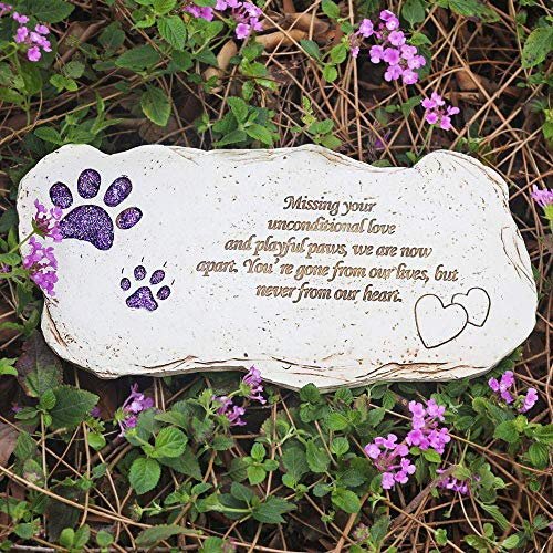 BJSM Pet Grave Markers, Hand-Printed Personalized Indoor Outdoor for Garden Backyard Marker Dog Tombstone- Loss of Pet Gifts (Shining Paw) (Tombstones Pet Markers)