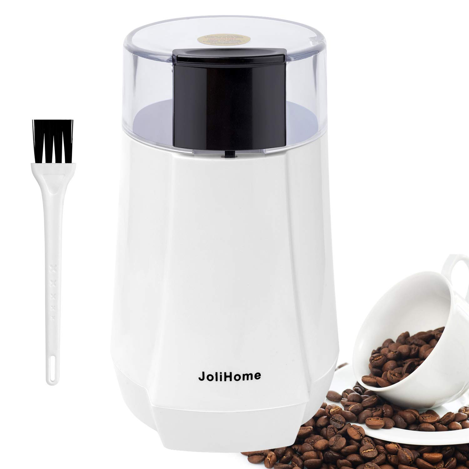JoliHome Electric Coffee Grinder, Multifunctional Stainless Steel Blade Spice Grinder Fast Grinding Coffee Beans, Nuts, Grains, 2.5oz/70g, 150W. Cleaning Brush Included (White)