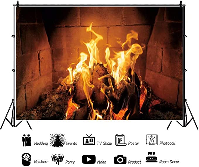 DaShan 8x6ft Polyester Burning Fire Fireplace Backdrop Flame Bonfire Blaze Xmas Party Photography Background Burning Flame Themed Family Campfire Newborn Baby Adult Boy Portrait YouTube Photo Props