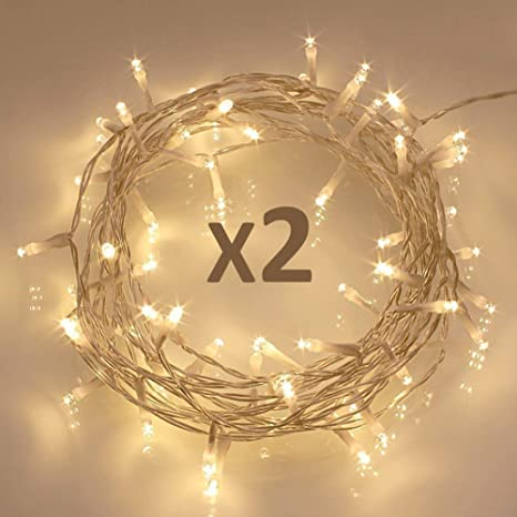 Christmas Led String Lights.Koopower 40 Led Fairy String Lights Battery Operated W Timer Function For Christmas Xmas Ip65 Waterproof Warm White Pack Of 2