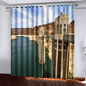 Musesh 52X84 Inch Curtains 2 Panels,Bay Window Curtains PanelBlackoutCurtains Large Window Curtains Towers Lake The Nevada Border at Hoover Dam Mead Arizona for Bedroom Living Room Kitchen