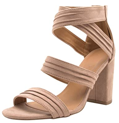 416456f1bf Cambridge Select Women's Open Toe Crisscross Ankle Strappy Chunky Wrapped  Block Heel Sandal (9 B