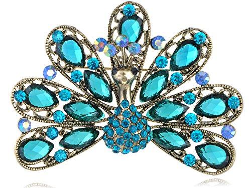 (Alilang Antique Golden Tone Blue Crystal Rhinestones Peacock Bird Brooch Pin)