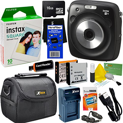 Fujifilm Instax Square SQ10 Hybrid Instant Camera + Fujifilm Instax Square Instant Film (10 Sheets) + 16GB Memory Card + Camera Case + 8pc Accessory Kit w/ HeroFiber Ultra Gentle Cleaning Cloth by HeroFiber