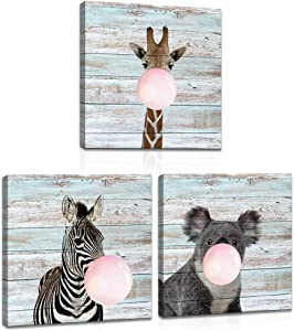 3 Pieces Animals and Balloon Canvas Wall Art for Nursery Decor Zebra Giraffe Koala Painting Prints Wood Background Picture Framed Stretched for Kids Room Living Room Decoration 16x16inchx3pcs