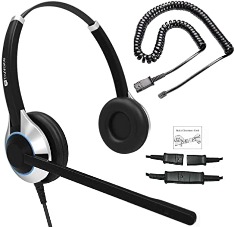 Many More Shoretel Aastra Truvoice HD-750 Premium Corded Double Ear Headset with an Ultra Noise Canceling Microphone /& U10P Adapter Cable Works with Mitel Fanvil Avaya Nortel Polycom VVX